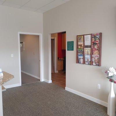 front desk area with doors